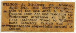 Mary Wilson obit 1940