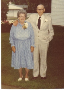 Helen and Charles in their backyard on their 50th anniversary in 1982