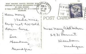 Dear Mary, Had a nice trip not too cold down here Love Grandma + Grandpa (postmarked 2-25-1959)