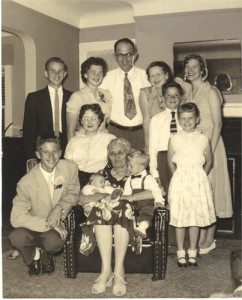 Nancy Jane Clark (seated) with her son Edward and his family