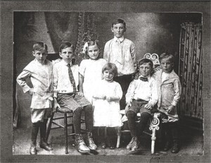 From left: Charles, Cecil, Marjorie, Theresa, Hugh, Jack (seated), and William (about 1915)