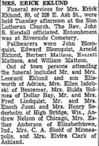 Article about Johanna's funeral from the Jan. 4, 1956 Daily Globe