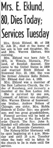 Johanna Eklund's Obituary from the Ironwood Daily Globe