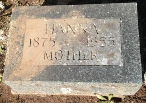 Johanna's gravestone in Riverside Cemetery