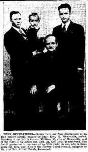 Matt Kivi, his son William, his grandson Carl, and his great-grandson Jack