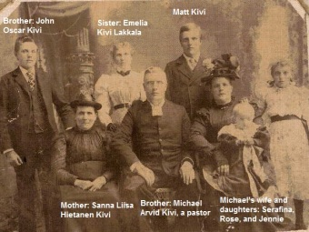 Some of Matt Kivi's family, about 1899 in Ironwood, MI