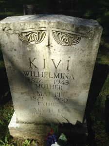 Matt and Wilhelmina Kivi tombstone in Riverside Cemetery