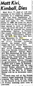 Matt Kivi's Obituary, Tues. Dec. 12, 1950