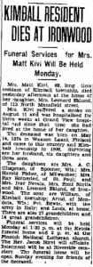 Mrs. Kivi's Obituary