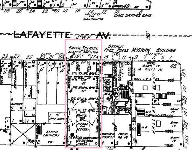 Empire Theatre on the 1897 Sanborn Fire Map (Detroit, vol. 1, sheet 2)