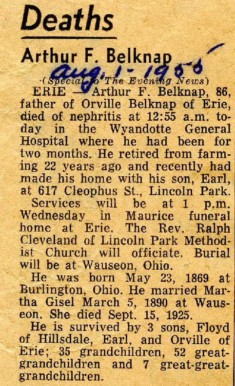Arthur died August 1, 1955 in Wyandotte, Michigan.