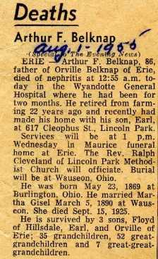 Arthur diedAugust 1, 1955 in Wyandotte, Michigan.